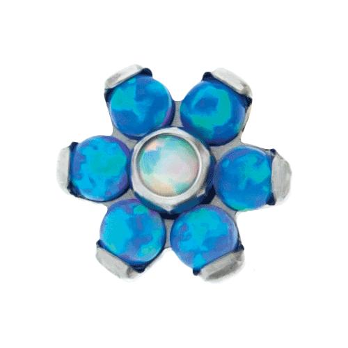 TITANIUM THREADLESS OPAL FLOWER REPLACEMENT HEAD-BLUE/WHITE-4MM