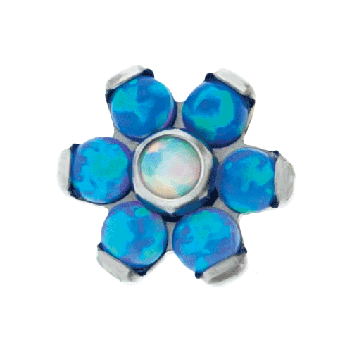 REPLACEMENT HEAD INTERNALLY THREADED TITANIUM ASTM F-136 14G 5MM FLOWER BLUE OPAL PEDALS WITH WHITE OPAL CENTER SOLD INDIVIDUALLY