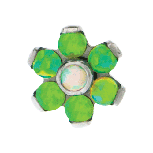 REPLACEMENT HEAD INTERNALLY THREADED TITANIUM ASTM F-136 16G 4MM FLOWER LIME GREEN OPAL PETALS WITH WHITE OPAL CENTER SOLD INDIVIDUALLY