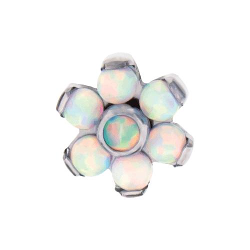 TITANIUM THREADLESS WHITE OPAL FLOWER REPLACEMENT HEAD-4MM-WHITE OPAL