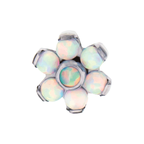 REPLACEMENT HEAD INTERNALLY THREADED TITANIUM ASTM F-136 16G 4MM FLOWER WHITE OPAL PETALS WITH WHITE OPAL CENTER SOLD INDIVIDUALLY