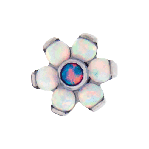 TITANIUM THREADLESS WHITE OPAL FLOWER REPLACEMENT HEAD-4MM-WHITE/LIGHT PURPLE OPAL