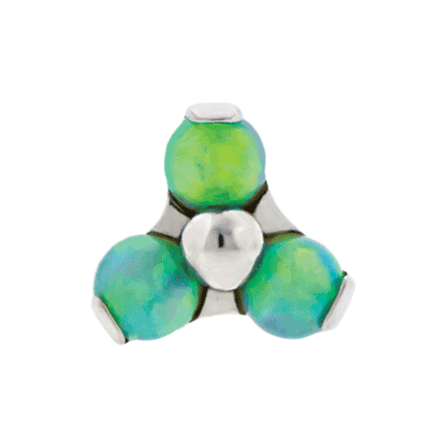 REPLACEMENT HEAD INTERNALLY THREADED TITANIUM ASTM F-136 14G PRONG SET 3 2MM LIGHT GREEN OPAL TRINITY CLUSTER SOLD INDIVIDUALLY