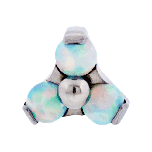 REPLACEMENT HEAD INTERNALLY THREADED TITANIUM ASTM F-136 14G PRONG SET 3 2MM WHITE OPAL TRINITY CLUSTER SOLD INDIVIDUALLY