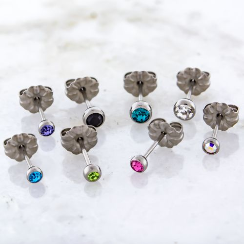 TITANIUM EARRING STUDS WITH GEMS