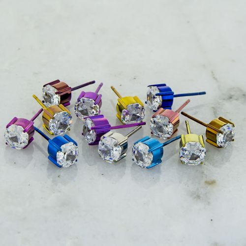 TITANIUM CLEAR OCTAGON GEM EARRING STUDS