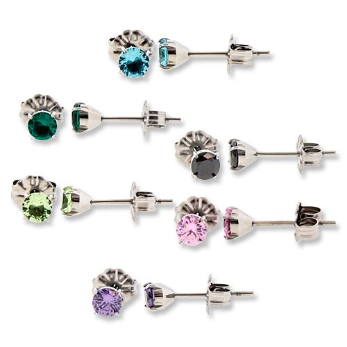 TITANIUM PRONG SET GEM EARRING STUDS