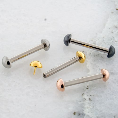 10G THREADLESS STRAIGHT BARBELL W/ DOME