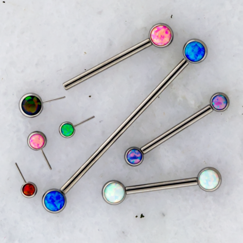 14G TITANIUM THREADLESS BARBELL WITH FRONT FACING OPAL