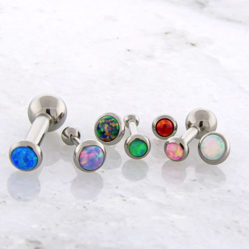 14G THREADLESS BARBELL W/ OPAL DISC AND FIXED BALL
