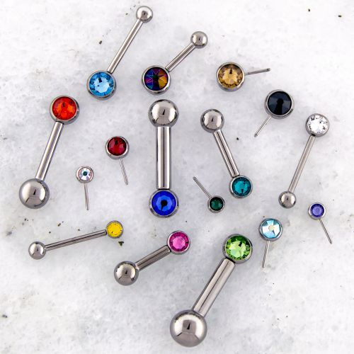 12G OR 10G THREADLESS BARBELL W/ GEM BALL AND FIXED BALL