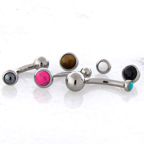 14G THREADLESS CURVE W/ CABOCHON DISC AND FIXED BALL