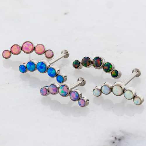 16G & 18G THREADLESS HELIX LABRET WITH OPAL CRESCENT
