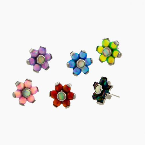 TITANIUM THREADLESS OPAL FLOWER REPLACEMENT HEAD WITH WHITE OPAL CENTER