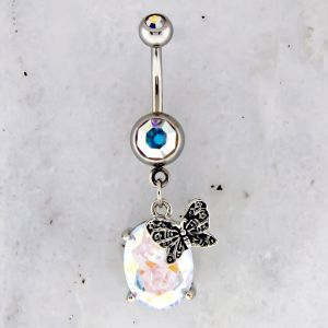 BUTTERFLY ACCENTED SWAROVSKI NAVEL RING