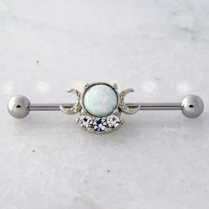 14G WHITE OPAL WITH CRESCENT MOONS INDUSTRIAL BARBELL