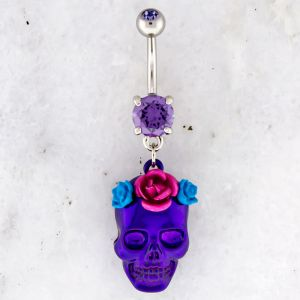 FLOWER CROWN SKULL NAVEL RING