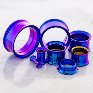 BLURPLE ANODIZED INTERNALLY THREADED TUNNELS