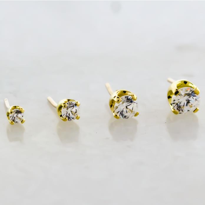18KT Yellow Gold Prong Set Round Cut Swarovski® Zirconia