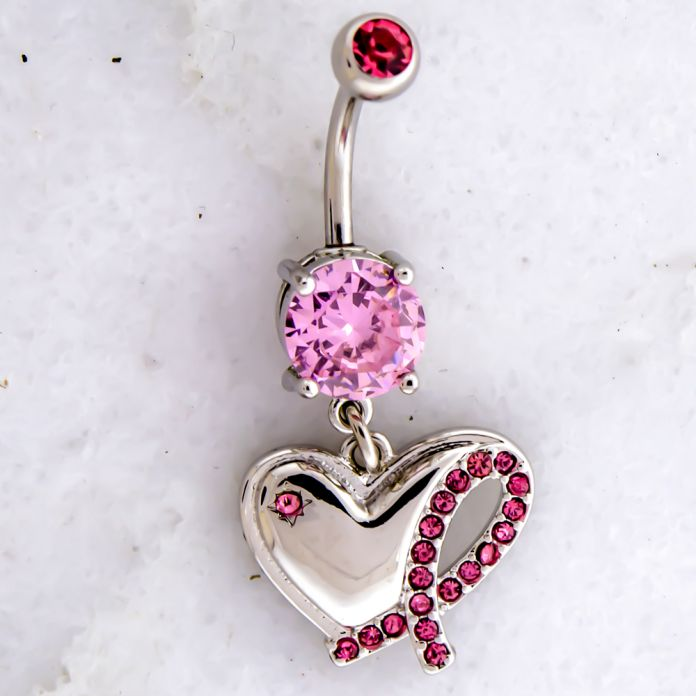 BREAST CANCER AWARENESS NAVEL RING WITH HEART AND PINK GEM RIBBON