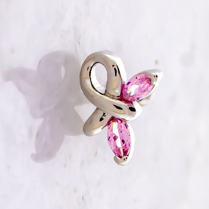 BREAST CANCER AWARENESS BUTTERFLY RIBBON TRAGUS BARBELL