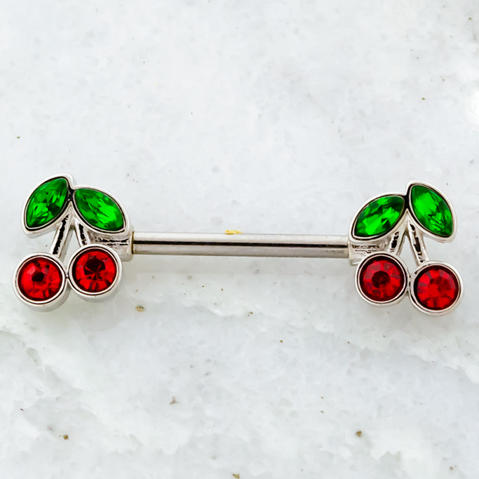 NIPPLE BARBELL WITH RED GEM CHERRY