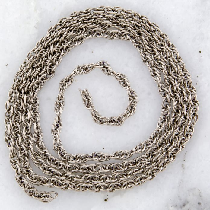 24inTITANIUM DOUBLE ROPE CHAIN2.5MM LINKS WITH 24JUMP RINGS.